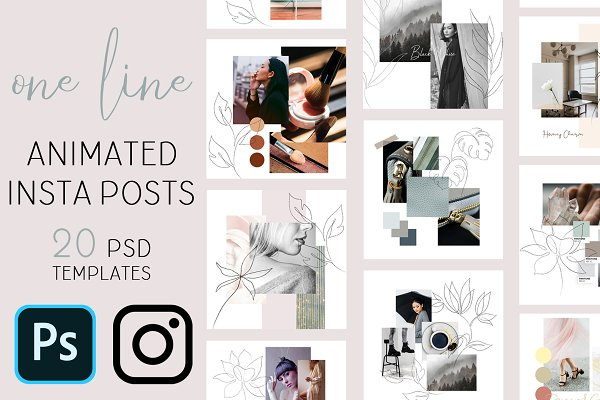 One line Animated Instagram Posts