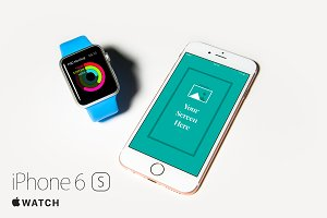 iPhone 6s and Apple Watch PSD Mockup