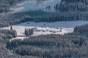 Village in winter forest