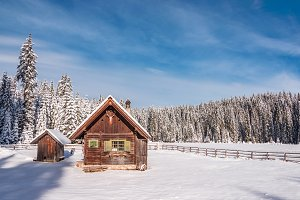 Hunting cabin in the winter forest
