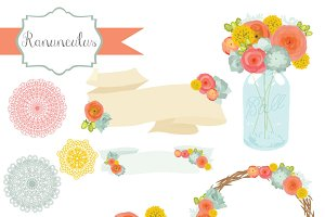 Ranunculus Flower Clipart & Vectors