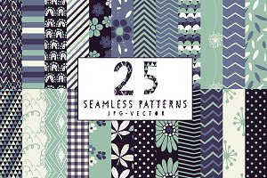 25 Seamless Vector Patterns Bundle
