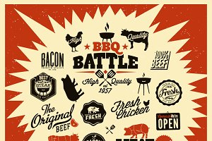 Vintage Barbecue Grill Elements