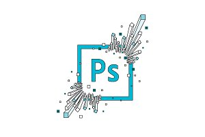 Photoshop editing tool icon flat