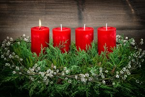 Advent decoration burning candle