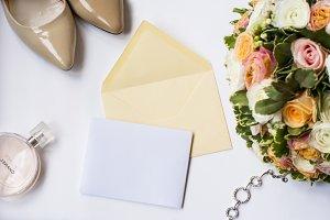 Wedding invitation cream mock up