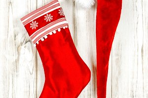 Christmas stocking. Red decoration