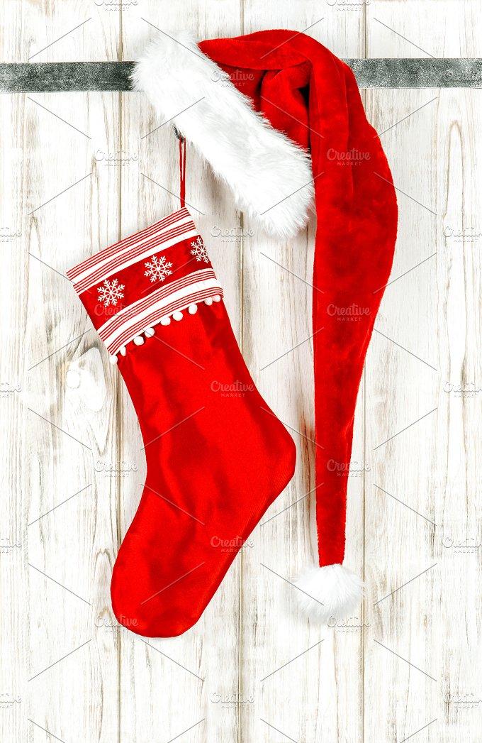 Christmas stocking. Red decoration - Holidays
