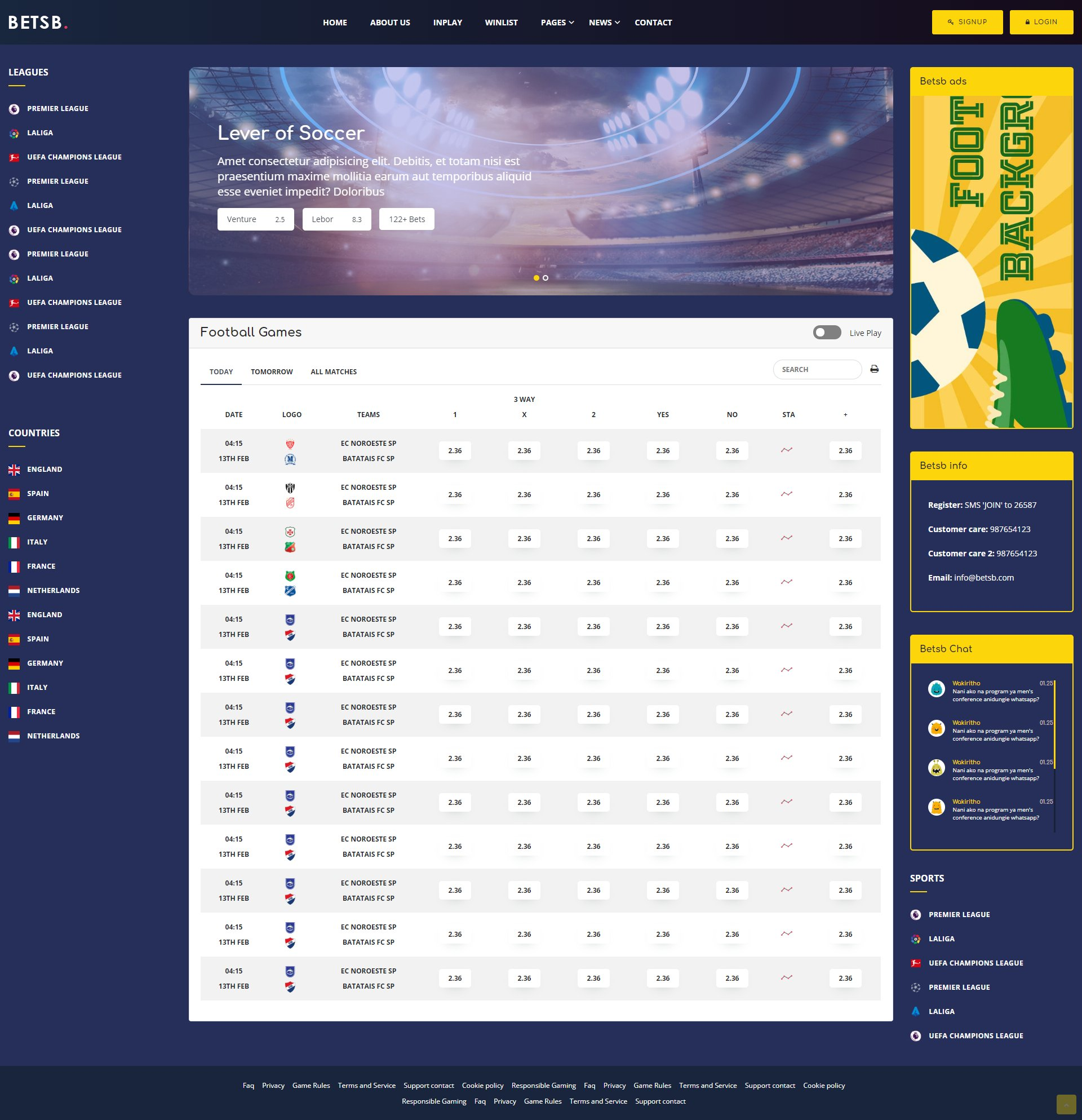 sports betting template