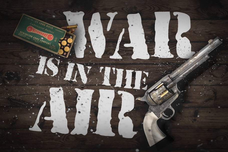 War is in the air - Stencil font