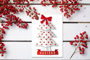 Xmas mockup greeting card psd
