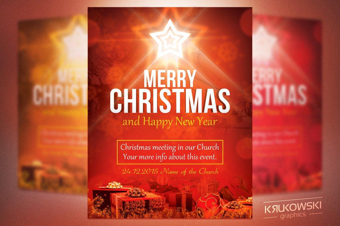 Christmas In Church Flyer Flyer Templates Creative Market