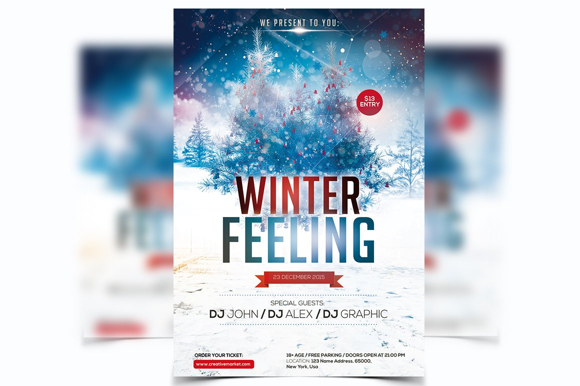 christmas 2016 flyers photos graphics fonts themes templates winter feeling psd flyer