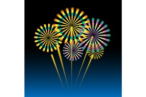 Beautiful fireworks on dark blue