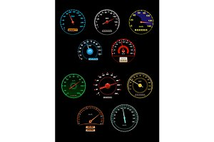 Speedometers set with dials and gaug