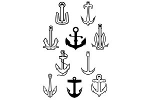 Marine themed set of ships anchors