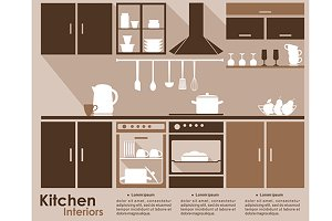 Kitchen interior infographic templat