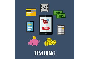 Online trading flat concept