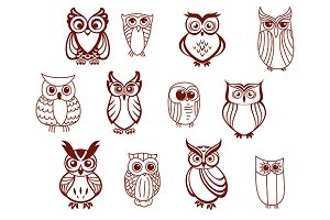 Set of vector owls