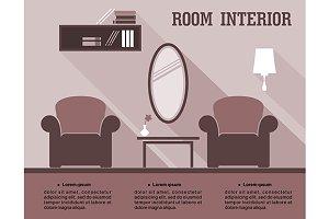 Living room interior infographic