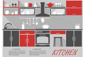 Kitchen interior decor infographic