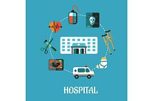 Hospital flat inforgraphic design