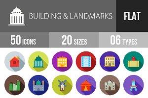 50 Buildings Flat Shadowed Icons