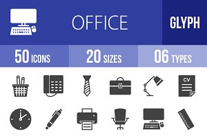 50 Office Glyph Icons