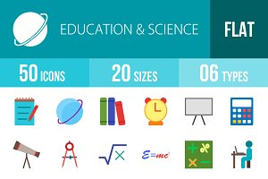 50 Education&Science Flat Multicolor