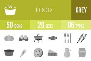 50 Food Greyscale Icons
