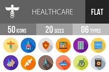 50 Healthcare Flat Shadowed Icons