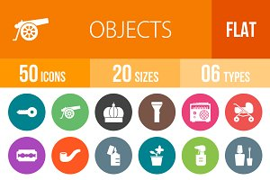 50 Objects Flat Round Icons