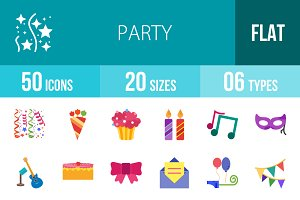 50 Party Flat Multicolor Icons