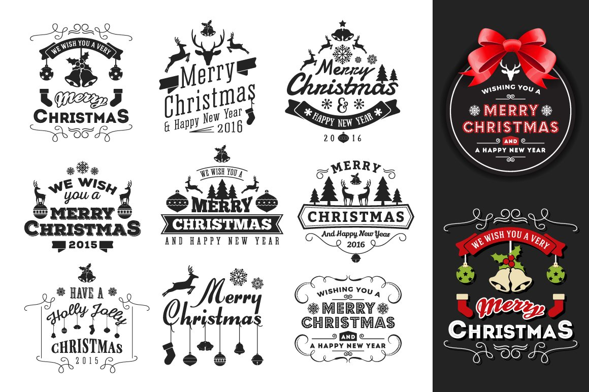 christmas new year badges label graphic objects creative market - Christmas Logo