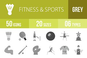 50 Fitness & Sports Greyscale Icons