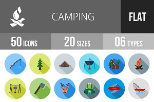 50 Camping Flat Shadowed Icons