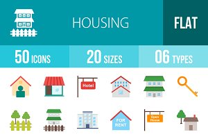 50 Housing Flat Multicolor Icons