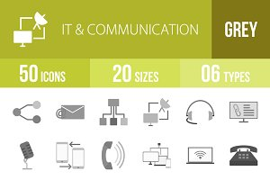50 IT&Communication Greyscale Icons