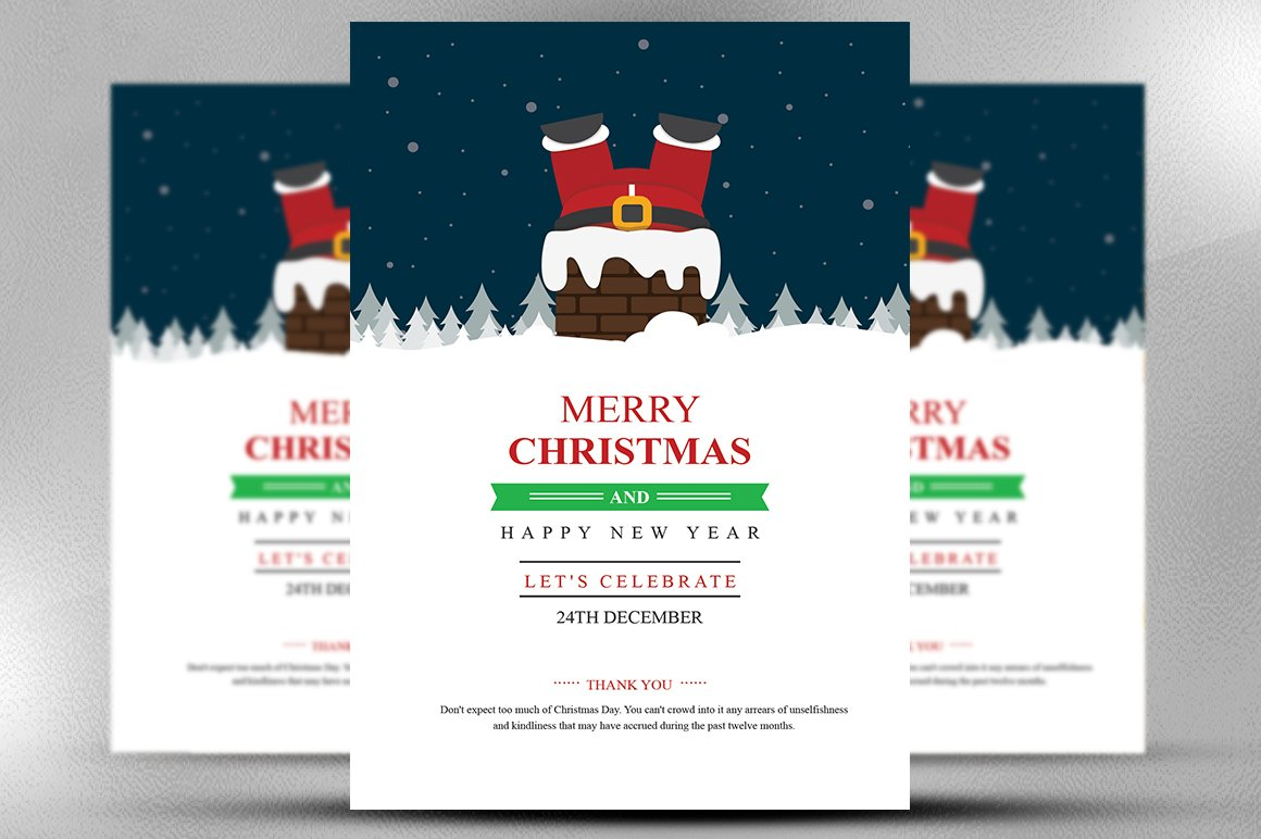 christmas happy new year flyer flyer templates creative market