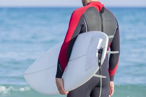 man surfer ready to surf
