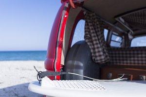 surf board in a van