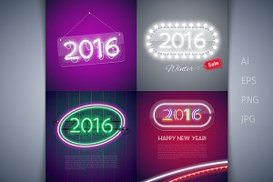 Four Colorful Neon Sign 2016