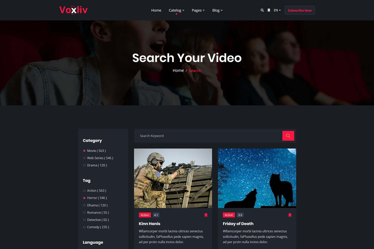 Voxliv - Video On Demand Template