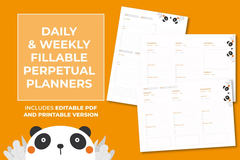 Daily & Weekly pdf Fillable Planners