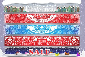 5 Christmas and New Year web banners