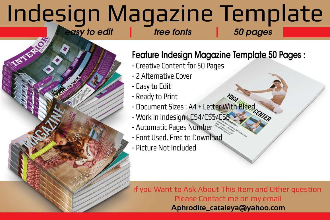 indesign magazine template 50 pages magazine templates creative market. Black Bedroom Furniture Sets. Home Design Ideas