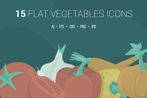 Flat Vegetables Icons Set