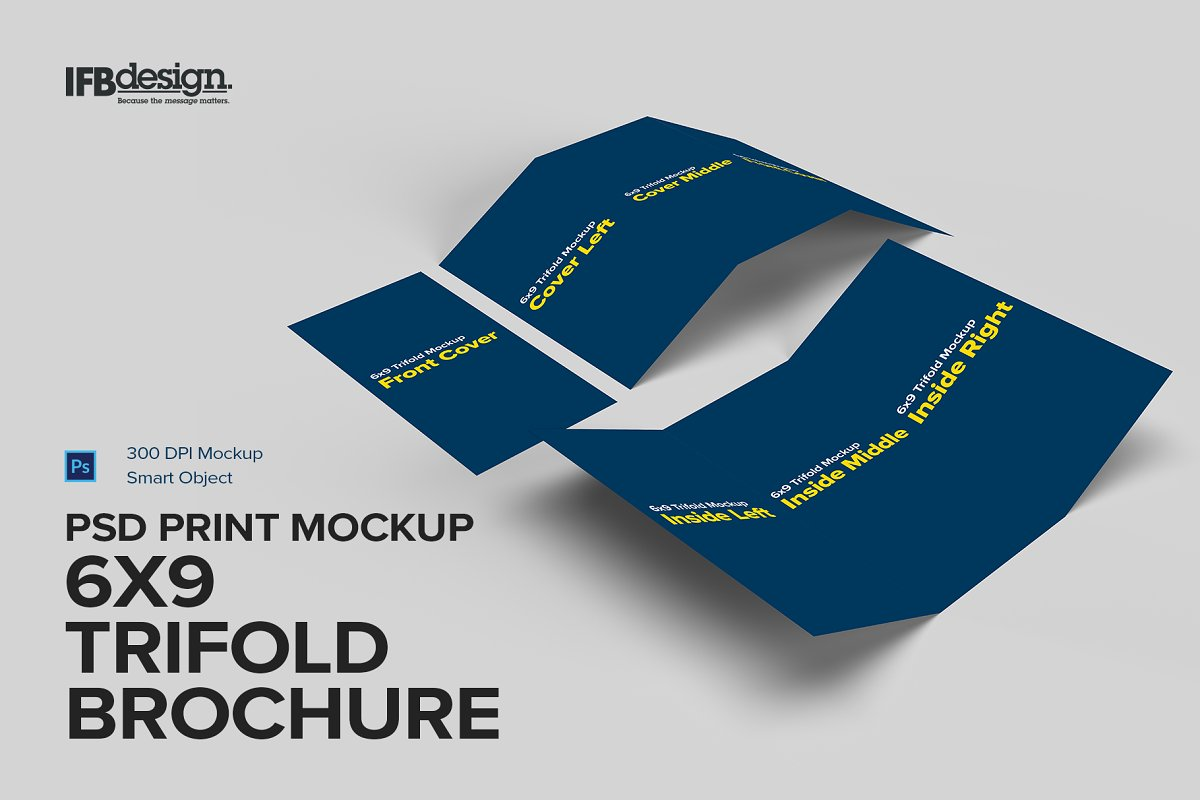 6x9 Trifold Brochure Mockup in Print Mockups - product preview 8