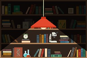 Bookshelf and lighting lamp
