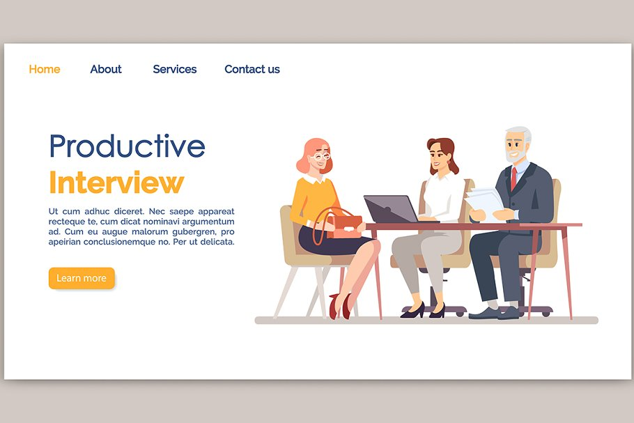 Productive interview landing page